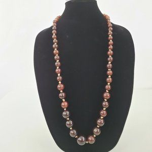 Jewelry - Brown Beaded Necklace Graduated Knotted Black Roun